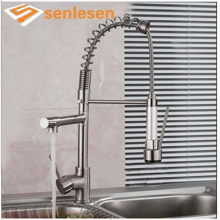 Luxury Brushed Nickel Spring Kitchen Mixer Faucet Single Handle One Hole Double Sprayer - ICON2 Luxury Designer Fixures  Luxury #Brushed #Nickel #Spring #Kitchen #Mixer #Faucet #Single #Handle #One #Hole #Double #Sprayer