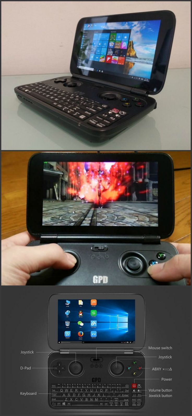GPD - Small but powerful gaming and media Windows 10 OS handheld featuring a Quad Core CPU, 4GB RAM and 64GB storage.