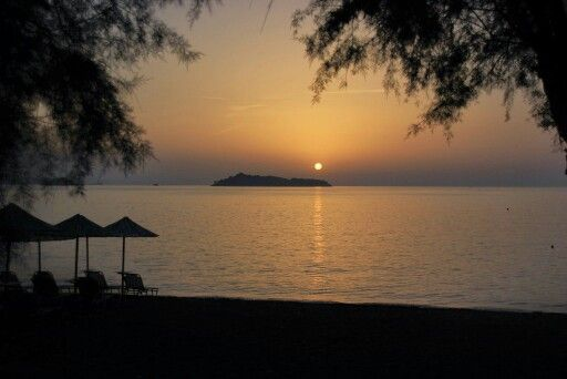 Sunset in petra, Lesbos, greece