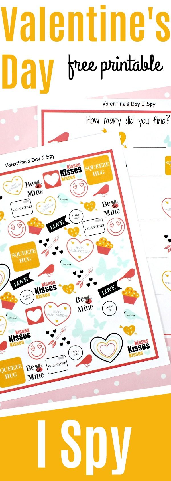 Celebrate Valentine's Day with these fun free printable Valentine's Day I spy game for kids! This is a great Valentine's Day activity for kids of all ages and it's free!