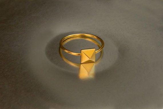 Tiny pyramid ring Silver pyramid ring Gold pyramid 925 sterling silver