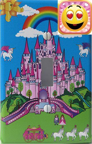 This #Pink Castle theme Light Switch Plate has unicorns , a Horse drawn chariot , Rainbow, clouds, sun and a prince and princess and is sure to brighten your lit...