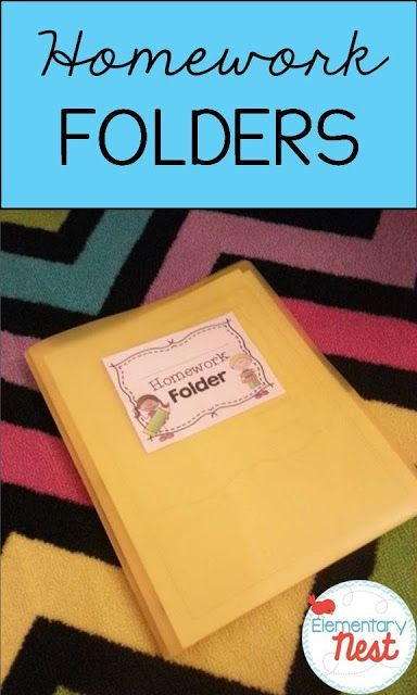 Homework for First and Second Graders that covers different skills each day (Reading, Math, Writing, and Language/Grammar)- Using homework folders- FREEBIE folder cover label