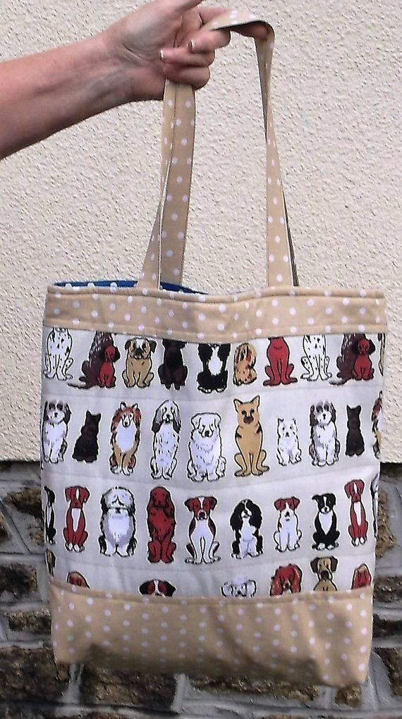 Dogs fabric, Handmade Ladies, Tote Bag, beige color, Polka dot, cotton linen, Womens Shoulder Bags, Shopping bag, Fully Lined shopper