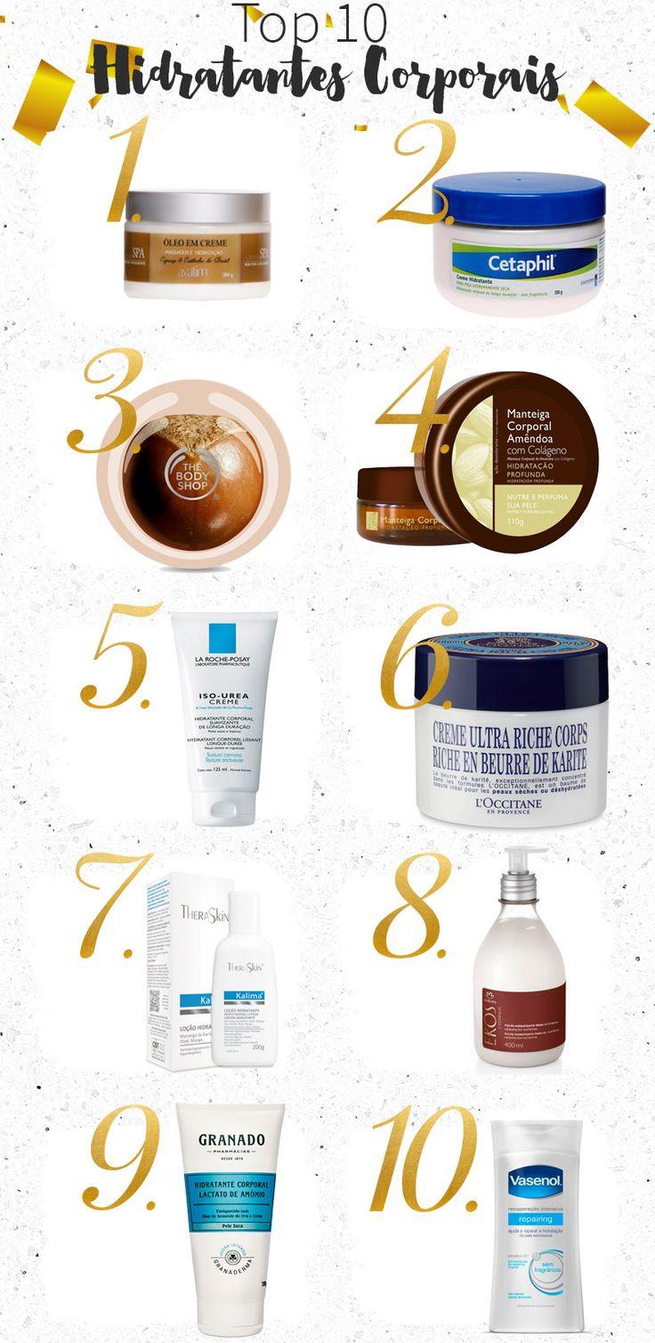 Top 10 hidratantes corporais: os meus preferidos para peles secas! Tem dos mais baratos aos mais caros, mas todos são maravilhosos para a pele!