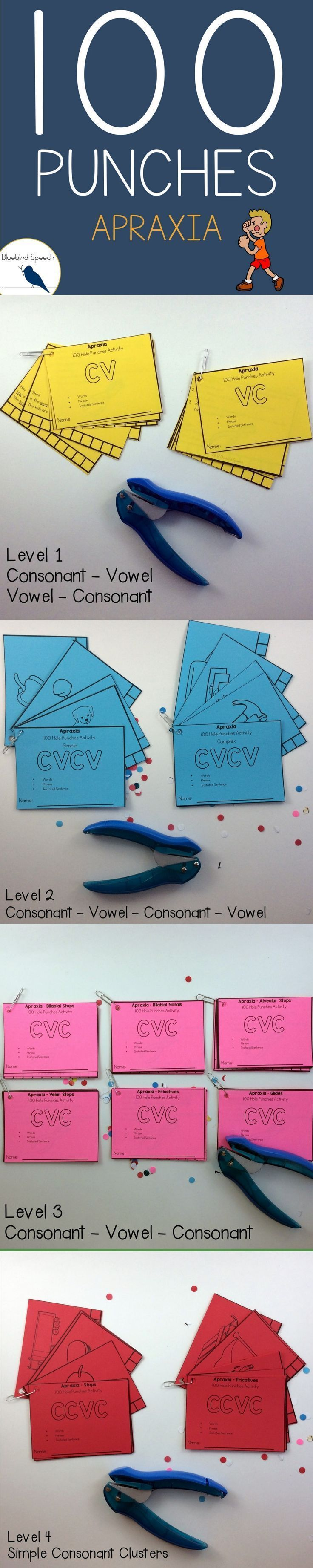Apraxia | Speech Therapy | Self-Monitoring | Multiple Repetitions | Using a hole punch, students track their own repetitions of CV, VC, CVCV, CVC, and CCVC syllable shapes depending on their level in the speech hierarchy.