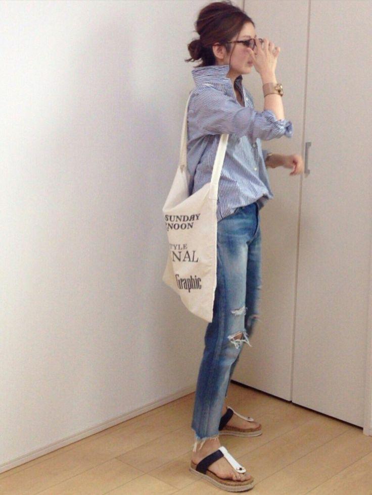 mayumiさんのシャツ/ブラウス「Deuxieme Classe ワイヤーウォッシュシャツ◆」を使ったコーディネート