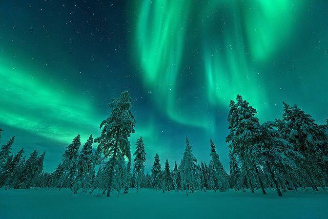 Северное сияние, Лапландия, Финляндия.