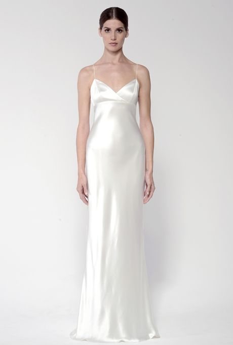 Brides: Bliss by Monique Lhuillier. Silk white crepe back satin sheath dress with low back.More Details From Bliss by Monique Lhuillier