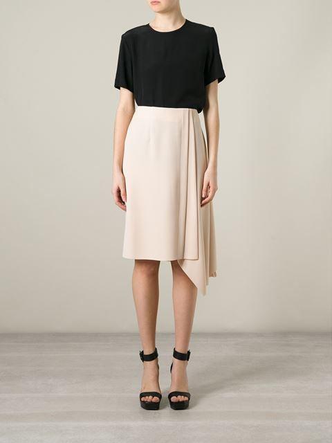 Cedric Charlier Asymmetric Pleat Detail Skirt - Schwittenberg - Farfetch.com