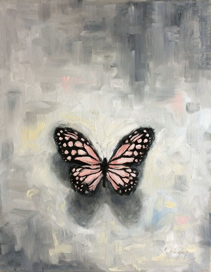 Butterfly Painting on Canvas Board  11x14  pink butterfly oil painting (200.00 USD) by Claudiandra
