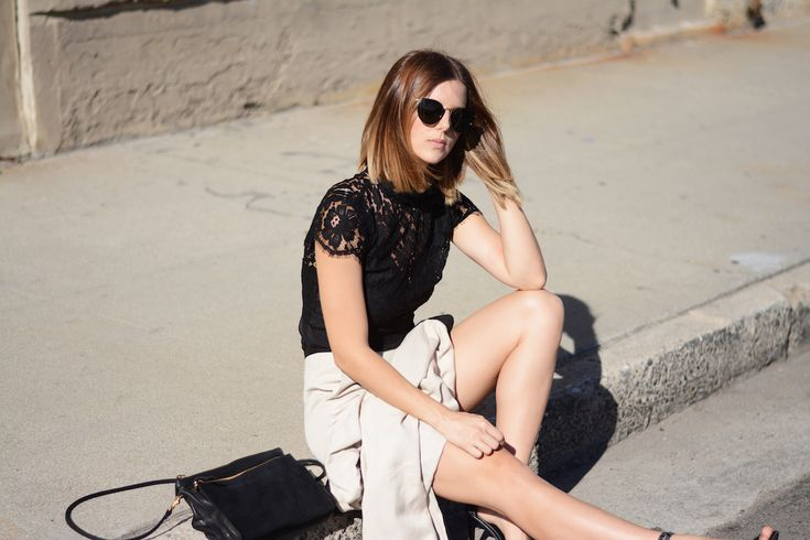 Los Angeles style blogger Michelle Madsen, Finders Keepers Lace Crop, Clare V clutch