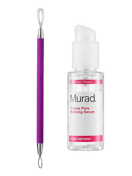 Sephora Collection Double-Ended Blemish Extractor and Murad T-Zone Pore Refining Serum   allure.com