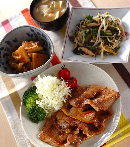 「豚肉のショウガ焼き」の献立・レシピ - 【E・レシピ】料理のプロが作る簡単レシピ/2011.12.19公開の献立です。