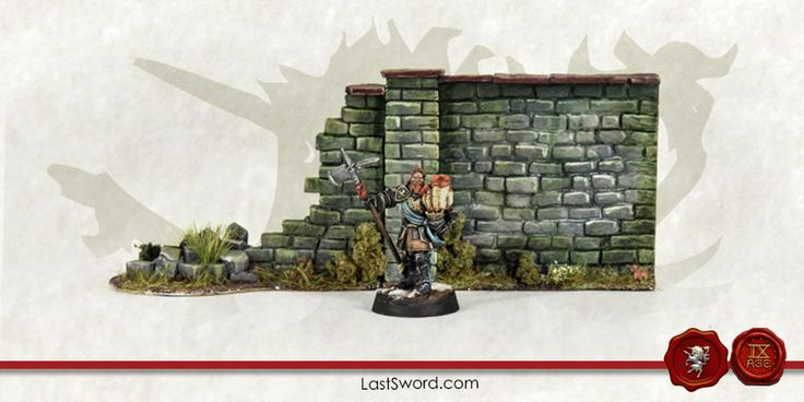 Scenery: high stone wall and ruined stone wall sculpted by Comi and painted by Asdarel.  Scenery for Warhammer, kings of war, Mordheim, Frostgrave, 9th age, Age of sigmar, and others wargames.