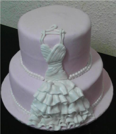 Pink Bridal shower cakes with Fondant wedding dress by Fairyfield Cakes 083 942 7354 fairyfield@live.com