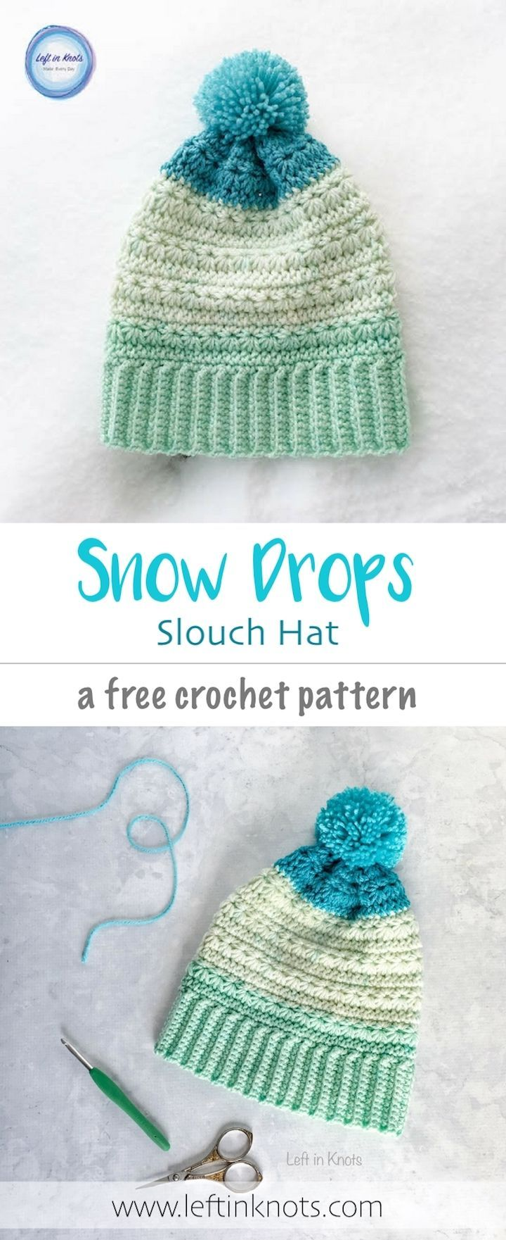 The Snow Drops Slouch Hat works up with stunning texture and uses less than one cake of Caron Cakes yarn (or your preferred worsted weight yarn)!  This free crochet pattern was designed to match my popular Snow Drops Mod Scarf.  I also have aright and left handed video tutorial to teach you how to crochet the star stitch #freecrochetpattern #crochethat #caroncakes