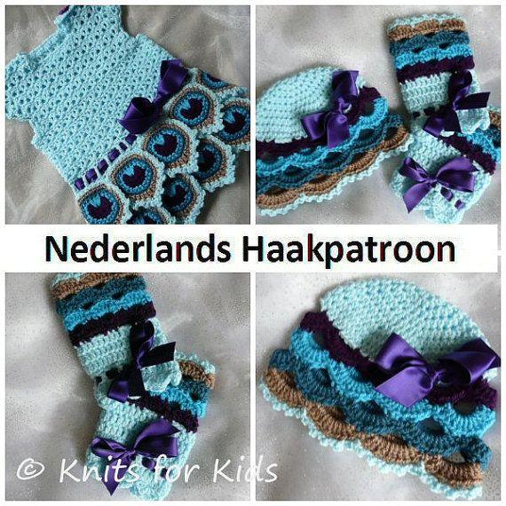 Nederlands Haakpatroon Baby Set Pauw Jurk  door ElodyKnitsforKids