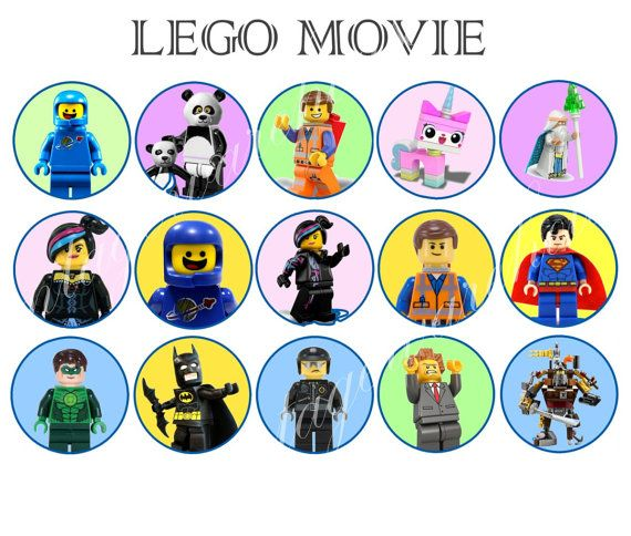 Lego movie craft circles instant download printable leggo characters cupcake toppers round stickers