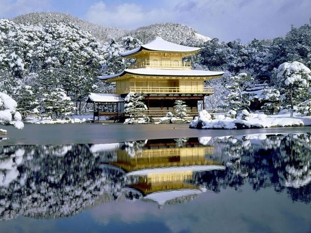 Japonsko, Kjóto, pagoda, jezero, odraz, sníh, krása, stromy, zima
