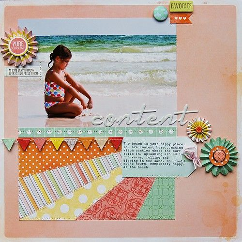 starburst design taken down to a small area of the page means it's not so crazy-energetic for a calm photo. by pamella brown. Love Pam's designs!Scrapbook Ideas, Beach Photos, Sun Ray, Paper Scrap, Scrapbook Layout, Pamella Brown, Scrapbook Pages, Dear Lizzie, American Crafts