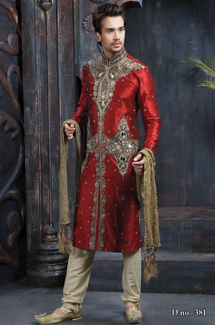 Dark Maroon Linen Readymade Sherwani With Churidar 381  http://www.silk-india.com/en/81-sherwani 185.70$  For Bulk Orders mail us :- raksha@silk-india.com