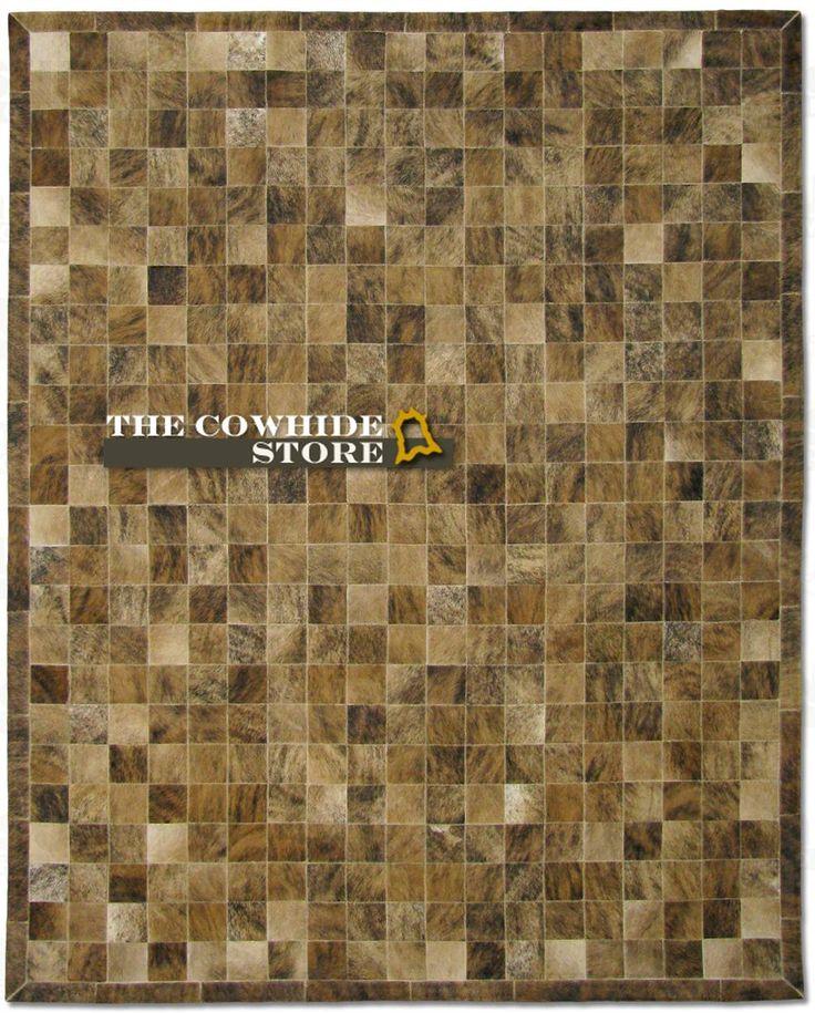 brown brindled hair on cowhide patchwork area rug 98in x 78in