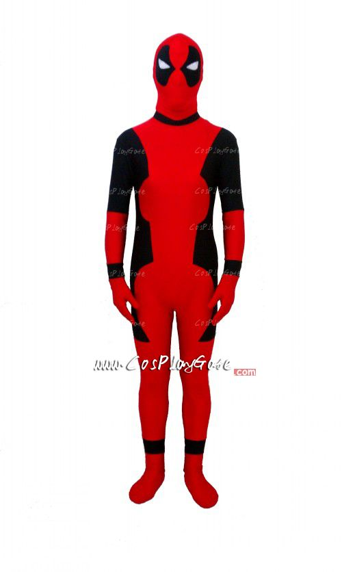 Deadpool is an anti-hero published by Marvel Comics. He is loved by many readers. This suit is made of all spandex. It is an one-piece design. Conceal zipper is added on the back for you to get in and out of the suit. White eyes are of translucent mesh which make eyes available to see through well. We suggest soft hand-washing.