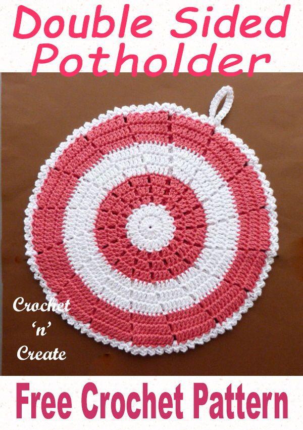 Double sided crochet potholder   Crochet potholders, Crochet hot ...