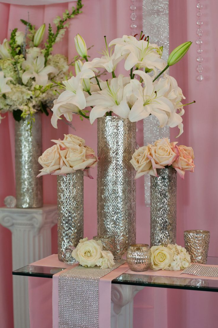 Pink And White Wedding Ceremony Flowers With Silver Bling By Twig Floral Designs Carbondale