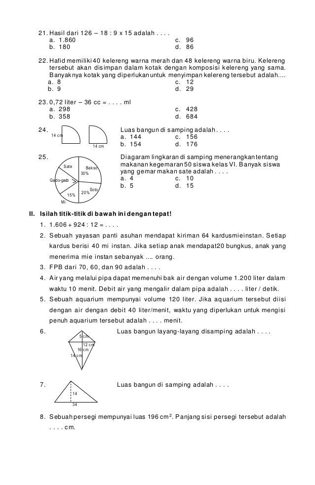 Download Soal Soal Un Matematka Sd