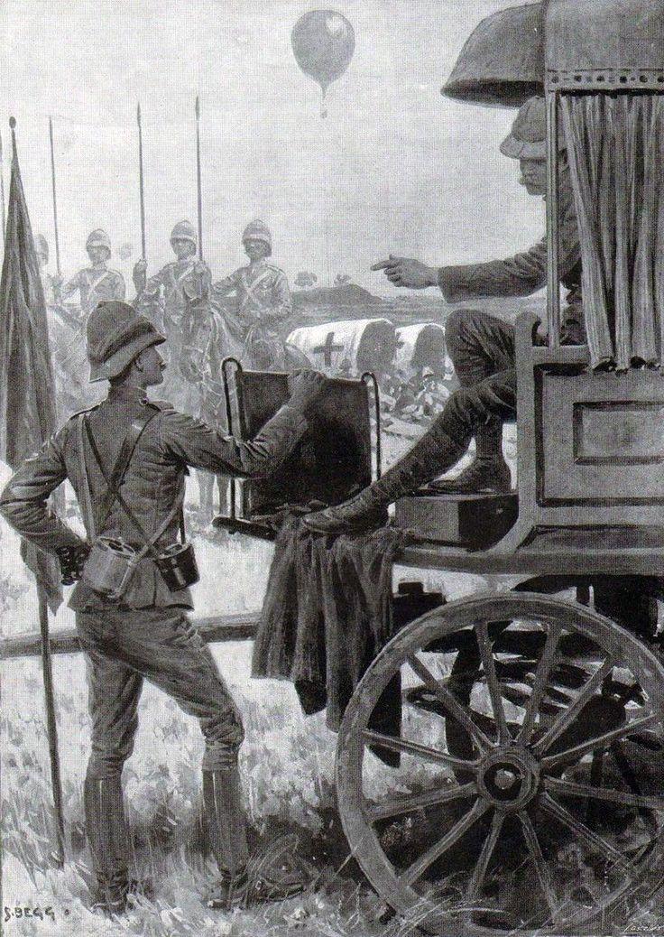 El general Lord Methuen, con el coronel Douglas, jefe de Estado Mayor, dirigiendo la batalla de Magersfontein. Dibujo de Frederic Villiers.
