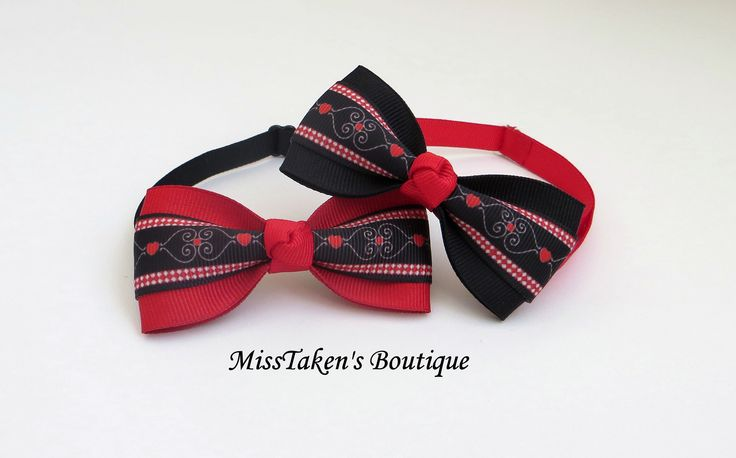"Valentine's+Heart+Pet+Bow+Ties  Adjustable+Neck+Size:+7.5-13""+(19-33cm)+ Bow:+8cm+x+4cm+ Collar:+1cm+Grosgrain+Ribbon+ Plastic+Hook+&+Clip+Closure  Condition:+Brand+New+-+Handmade,+Lightweight+&+Comfortable  ✿+Collars+are+for+fashion+purposes+only.+Please+always+supervise+your+fur+baby+w..."