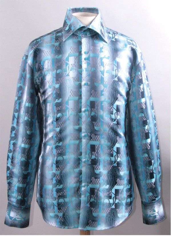 Mens Shiny High Collar Shirt Turquoise Paisley FSS1423