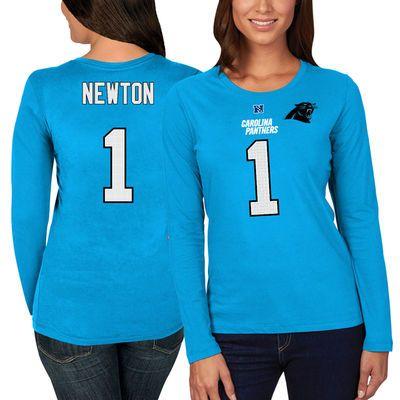 Women's Carolina Panthers Cam Newton Majestic Blue Fair Catch Long Sleeve Name & Number T-Shirt