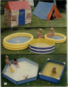1970s outdoors paddling pools. We had the blue and white striped one and the blue oblong one, but ours was yellow. I remember sitting on the little white plastic corner seats.