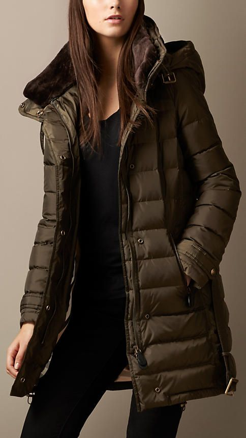 Dark olive Down-Filled Coat with Shearling Collar - Image 1