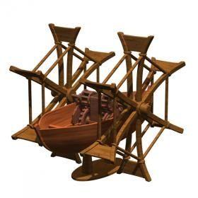 Леонардо да Винчи пробовал решить и такую проблему, как ускорение и облегчение навигации. Он взял вдохновение от формы и движение рыбы и смоделированный свою лодку клиновидной формы. И оснастил лодку большими веслами в виде колес, которые приводятся в движение при помощи ножной рукояти, оснащенной маховиком. Все это учащало ритм и повышало эффективность традиционной гребли.  Конструктор Колесная лодка Edu-Toys DV008 купить недорого можно в магазине Головастик. Доставка и самовывоз Петербург…