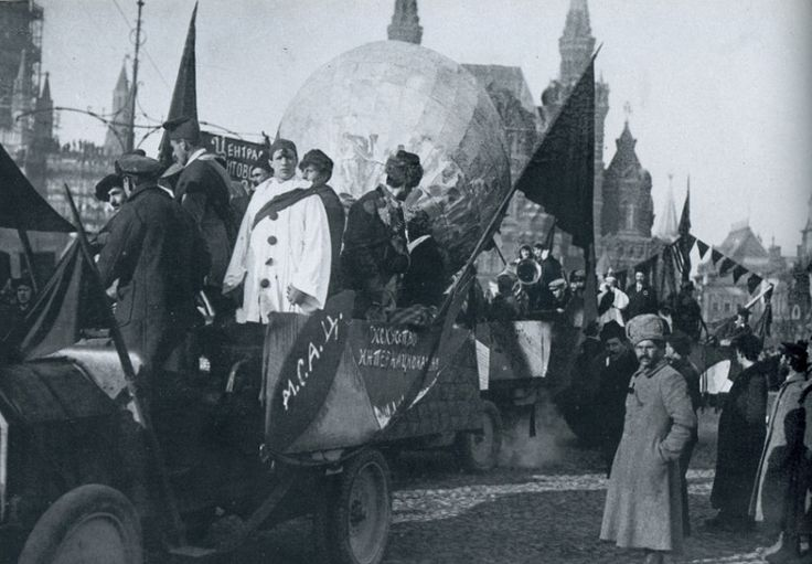 The Moscow Circus  clowns at the parade on November 7 1918