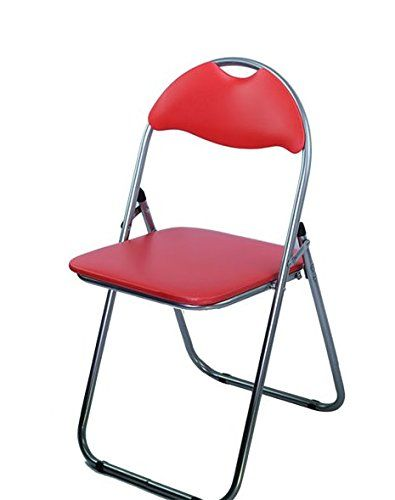 Ahoc Red Folding Chair With Padded Seat Office Reception Foldable