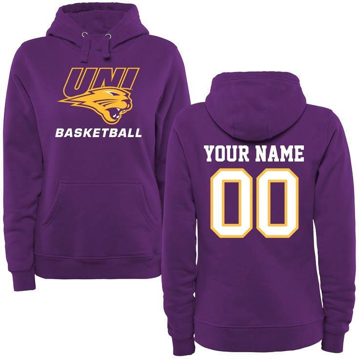 Northern Iowa Panthers Women's Personalized Basketball Pullover Hoodie - Purple - $69.99