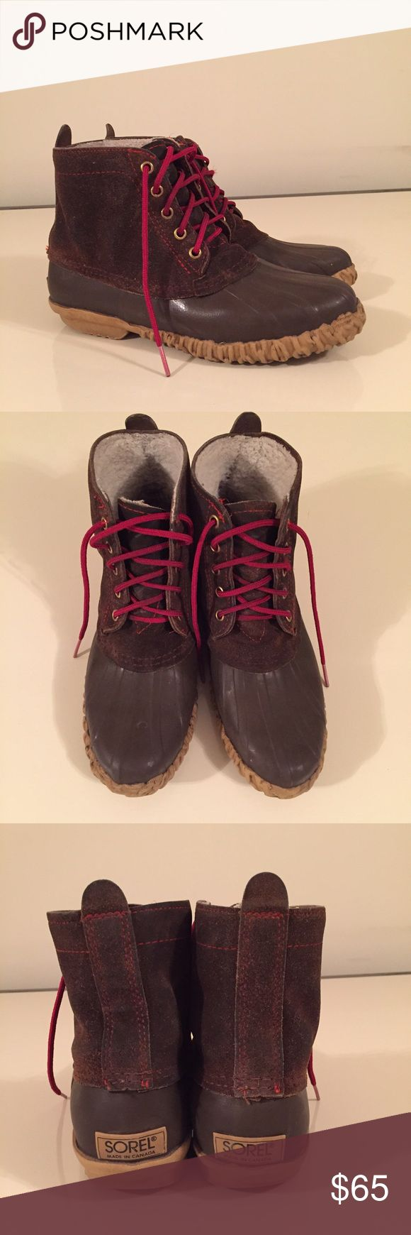 Sorel duck boots size 8 brown and red laces Sorel duck boots size 8 brown and red laces Sorel Shoes Winter & Rain Boots
