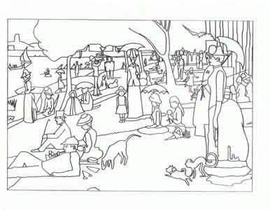 Seurat Art appreciation coloring pages tape to shrinky
