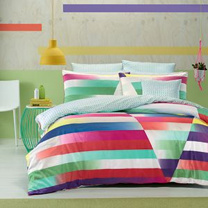 Prism features a rainbow of bold, contemporary colours in a striking interpretation of modern geometric design. Fresh and vibrant, with a cool but energized look, Prism features a beautiful, crisp, white cotton fabric with a printed, mint and white reverse and accessories, another design to allow you two totally different decorating options for the bedroom. The quilt cover has button closure.