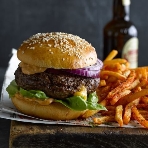 Cheddar-Stuffed Burgers with Air-Fried French Fries | Williams Sonoma