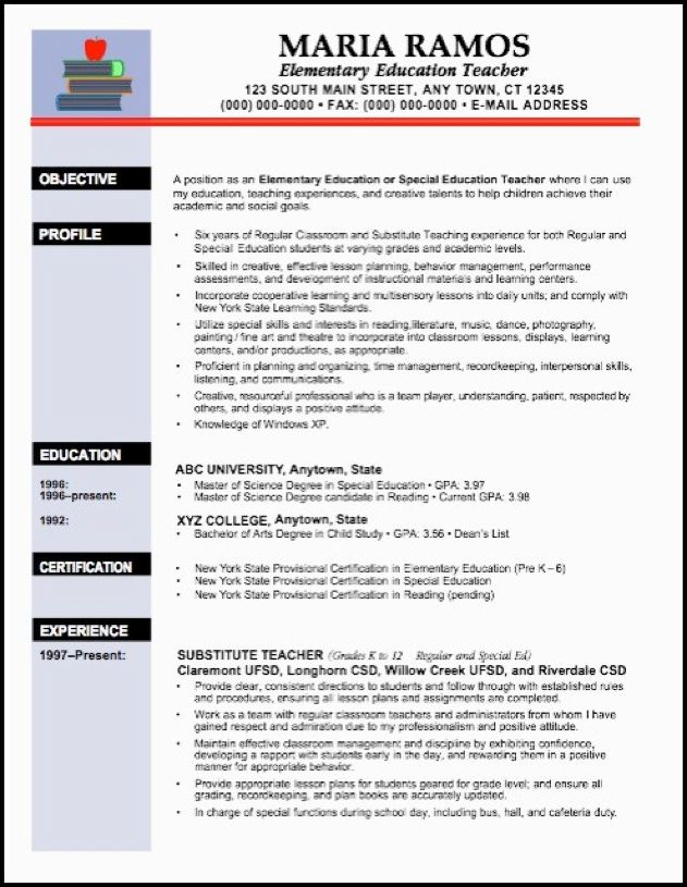 examples of teachers resumes elementary teacher resume examples