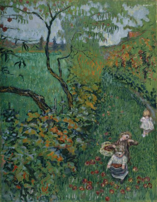 """The collection of apples * - Pierre Bonnard , 1899  French, 1867-1947  Oil on panel  * It is one of the four panels that make up the work """"The collection of apples"""". The panel, of Japanese inspiration, is located in Kanagawa, Japan."""