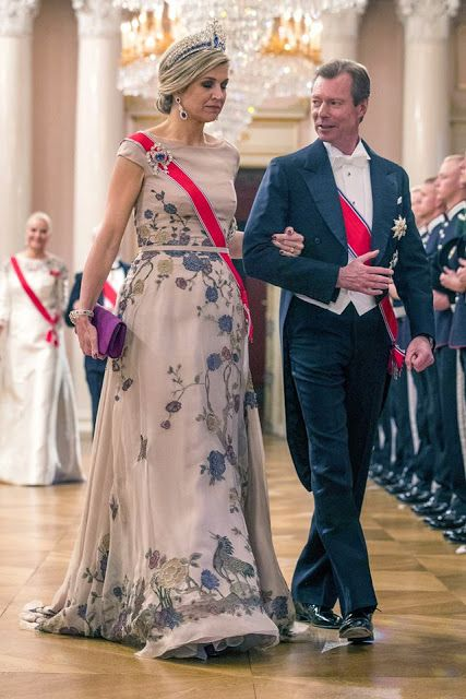 Queen Maxima at 80th birthday celebrations of King Harald of Norway. May 2017
