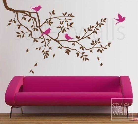 Aves rama y rama la etiqueta de la pared pared por styleywalls