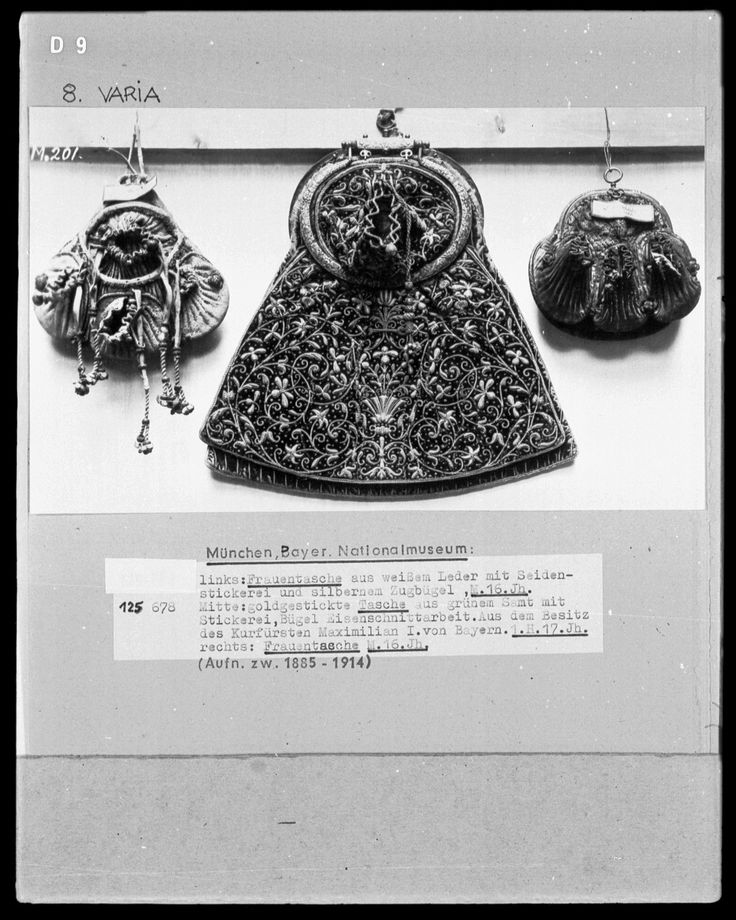 Three purses from the 16th and 17th centuries at the Bayerisches Nationalmuseum in Munich